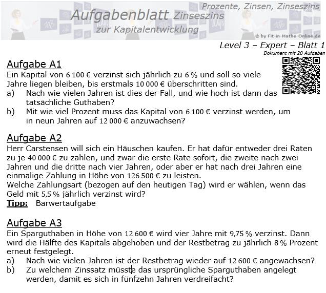 Kapitalentwicklung mit Zinseszinsen Aufgabenblatt 3/1 / © by Fit-in-Mathe-Online.de