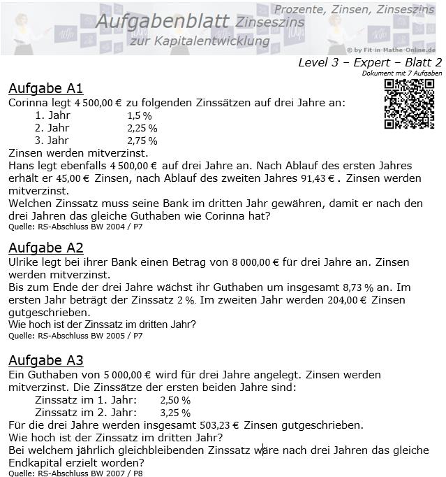 Kapitalentwicklung mit Zinseszinsen Aufgabenblatt 3/2 / © by Fit-in-Mathe-Online.de