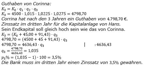 Zinseszinses Kapitalentwicklung Lösungen zum Aufgabensatz 1 Blatt 3/2 Expert Bild 1/© by www.fit-in-mathe-online.de