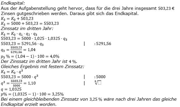 Zinseszinses Kapitalentwicklung Lösungen zum Aufgabensatz 3 Blatt 3/2 Expert Bild 1/© by www.fit-in-mathe-online.de