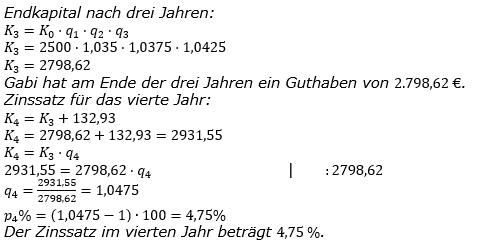 Zinseszinses Kapitalentwicklung Lösungen zum Aufgabensatz 4 Blatt 3/2 Expert Bild 1/© by www.fit-in-mathe-online.de