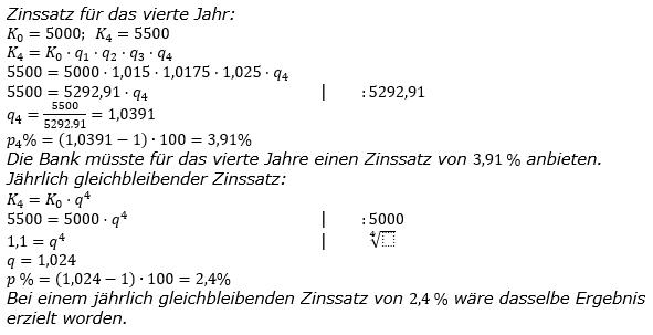 Zinseszinses Kapitalentwicklung Lösungen zum Aufgabensatz 5 Blatt 3/2 Expert Bild 1/© by www.fit-in-mathe-online.de