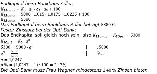 Zinseszinses Kapitalentwicklung Lösungen zum Aufgabensatz 6 Blatt 3/2 Expert Bild 1/© by www.fit-in-mathe-online.de
