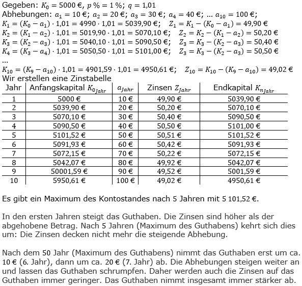 Zinseszinses Kapitalentwicklung Lösungen zum Aufgabensatz 7 Blatt 3/2 Expert Bild 1/© by www.fit-in-mathe-online.de