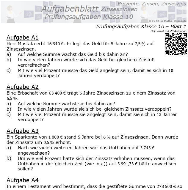 Prüfungsaufgaben mit Zinseszinsen Aufgaben 01 - 08 / © by Fit-in-Mathe-Online.de