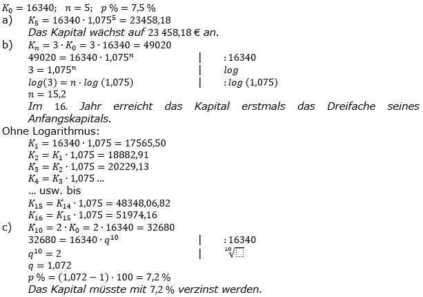 Zinseszinses Prüfungsaufgaben Lösungen zum Aufgabensatz 1 Blatt 1 A01 - A08 Bild 1/© by www.fit-in-mathe-online.de