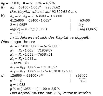 Zinseszinses Prüfungsaufgaben Lösungen zum Aufgabensatz 2 Blatt 1 A01 - A08 Bild 1/© by www.fit-in-mathe-online.de