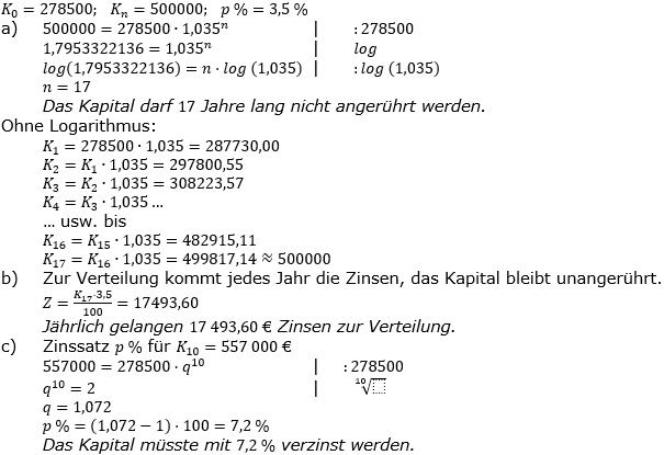 Zinseszinses Prüfungsaufgaben Lösungen zum Aufgabensatz 4 Blatt 1 A01 - A08 Bild 1/© by www.fit-in-mathe-online.de