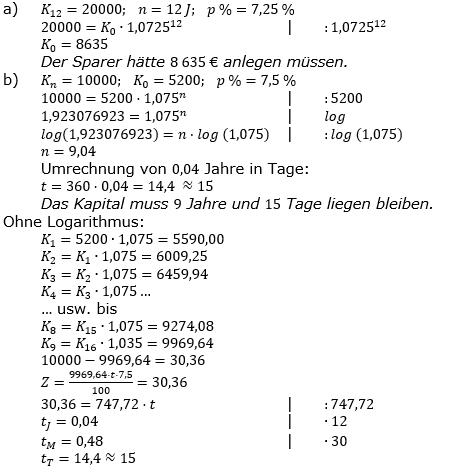 Zinseszinses Prüfungsaufgaben Lösungen zum Aufgabensatz 5 Blatt 1 A01 - A08 Bild 1/© by www.fit-in-mathe-online.de