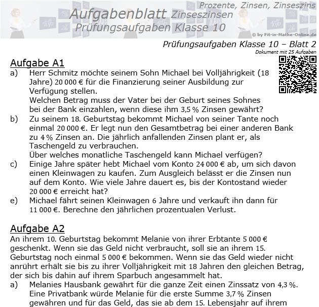 Prüfungsaufgaben mit Zinseszinsen Aufgaben 09 - 16 / © by Fit-in-Mathe-Online.de