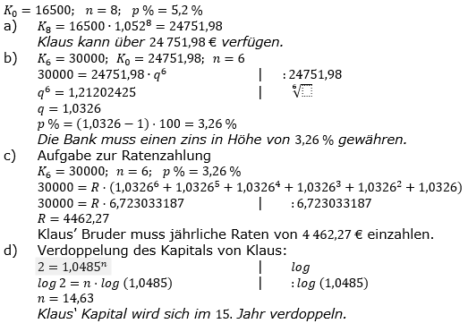 Zinseszinses Prüfungsaufgaben Lösungen zum Aufgabensatz 12 Blatt 2 A09 - A16 Bild 1/© by www.fit-in-mathe-online.de