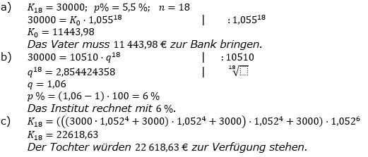 Zinseszinses Prüfungsaufgaben Lösungen zum Aufgabensatz 16 Blatt 2 A09 - A16 Bild 1/© by www.fit-in-mathe-online.de