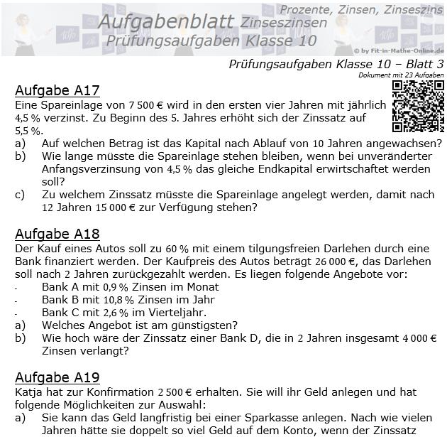 Prüfungsaufgaben mit Zinseszinsen Aufgaben 17 - 24 / © by Fit-in-Mathe-Online.de