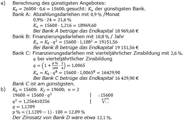 Zinseszinses Prüfungsaufgaben Lösungen zum Aufgabensatz 18 Blatt 3 A17 - A24 Bild 1/© by www.fit-in-mathe-online.de