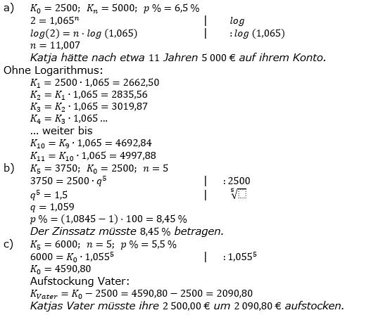 Zinseszinses Prüfungsaufgaben Lösungen zum Aufgabensatz 19 Blatt 3 A17 - A24 Bild 1/© by www.fit-in-mathe-online.de