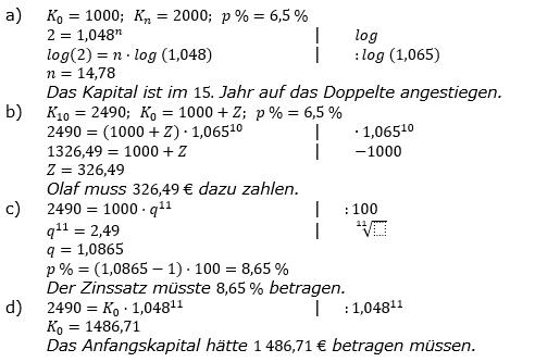 Zinseszinses Prüfungsaufgaben Lösungen zum Aufgabensatz 20 Blatt 3 A17 - A24 Bild 1/© by www.fit-in-mathe-online.de