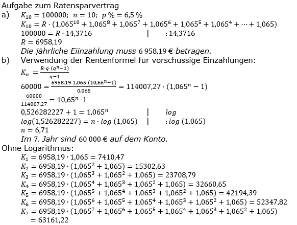 Zinseszinses Prüfungsaufgaben Lösungen zum Aufgabensatz 21 Blatt 3 A17 - A24 Bild 1/© by www.fit-in-mathe-online.de