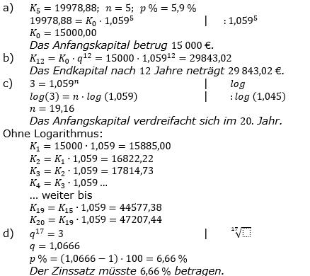 Zinseszinses Prüfungsaufgaben Lösungen zum Aufgabensatz 22 Blatt 3 A17 - A24 Bild 1/© by www.fit-in-mathe-online.de