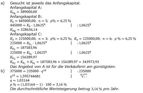 Zinseszinses Prüfungsaufgaben Lösungen zum Aufgabensatz 23 Blatt 3 A17 - A24 Bild 1/© by www.fit-in-mathe-online.de