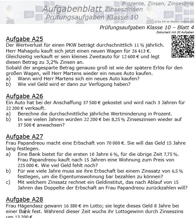 Prüfungsaufgaben mit Zinseszinsen Aufgaben 25 - 32 / © by Fit-in-Mathe-Online.de