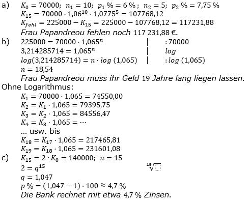 Zinseszinses Prüfungsaufgaben Lösungen zum Aufgabensatz 27 Blatt 4 A25 - A32 Bild 1/© by www.fit-in-mathe-online.de
