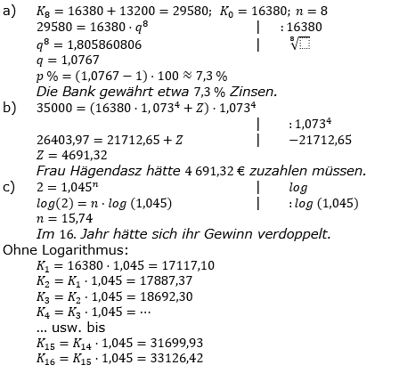 Zinseszinses Prüfungsaufgaben Lösungen zum Aufgabensatz 28 Blatt 4 A25 - A32 Bild 1/© by www.fit-in-mathe-online.de