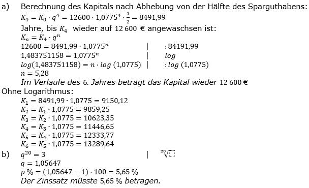 Zinseszinses Prüfungsaufgaben Lösungen zum Aufgabensatz 31 Blatt 4 A25 - A32 Bild 1/© by www.fit-in-mathe-online.de