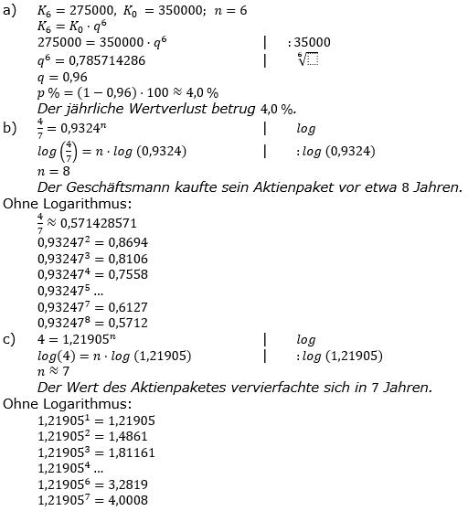 Zinseszinses Prüfungsaufgaben Lösungen zum Aufgabensatz 32 Blatt 4 A25 - A32 Bild 1/© by www.fit-in-mathe-online.de
