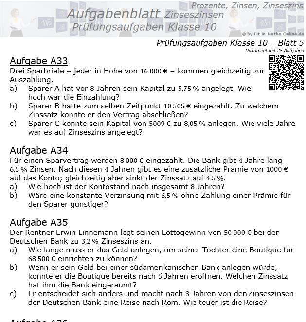 Prüfungsaufgaben mit Zinseszinsen Aufgaben 33 - 40 / © by Fit-in-Mathe-Online.de