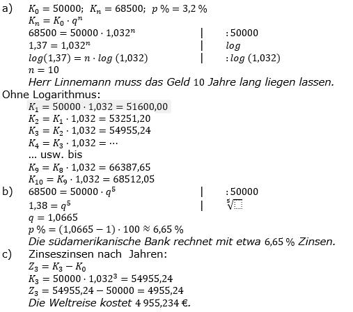 Zinseszinses Prüfungsaufgaben Lösungen zum Aufgabensatz 35 Blatt 5 A33 - A40 Bild 1/© by www.fit-in-mathe-online.de