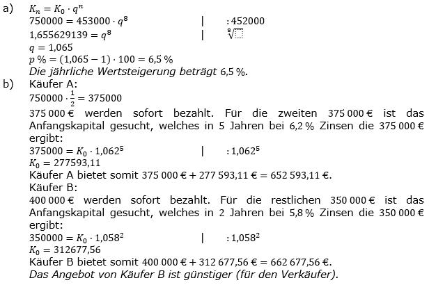 Zinseszinses Prüfungsaufgaben Lösungen zum Aufgabensatz 36 Blatt 5 A33 - A40 Bild 1/© by www.fit-in-mathe-online.de