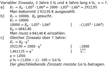 Zinseszinses Prüfungsaufgaben Lösungen zum Aufgabensatz 37 Blatt 5 A33 - A40 Bild 1/© by www.fit-in-mathe-online.de