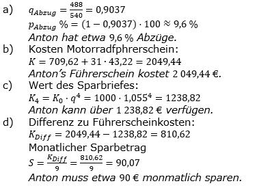 Zinseszinses Prüfungsaufgaben Lösungen zum Aufgabensatz 39 Blatt 5 A33 - A40 Bild 1/© by www.fit-in-mathe-online.de
