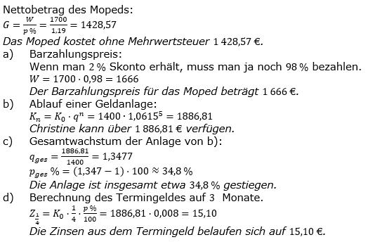 Zinseszinses Prüfungsaufgaben Lösungen zum Aufgabensatz 40 Blatt 5 A33 - A40 Bild 1/© by www.fit-in-mathe-online.de