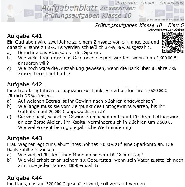 Prüfungsaufgaben mit Zinseszinsen Aufgaben 41 - 48 / © by Fit-in-Mathe-Online.de