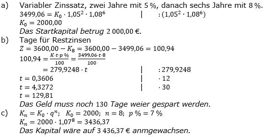 Zinseszinses Prüfungsaufgaben Lösungen zum Aufgabensatz 41 Blatt 6 A41 - A48 Bild 1/© by www.fit-in-mathe-online.de