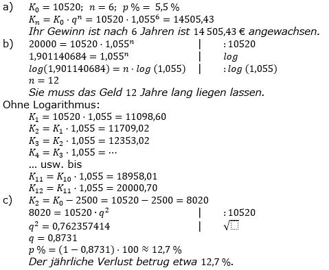Zinseszinses Prüfungsaufgaben Lösungen zum Aufgabensatz 42 Blatt 6 A41 - A48 Bild 1/© by www.fit-in-mathe-online.de