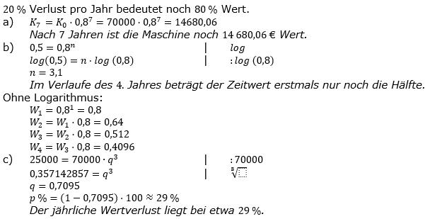 Zinseszinses Prüfungsaufgaben Lösungen zum Aufgabensatz 45 Blatt 6 A41 - A48 Bild 1/© by www.fit-in-mathe-online.de