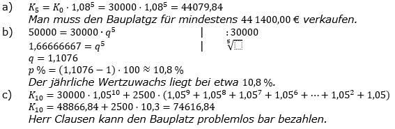 Zinseszinses Prüfungsaufgaben Lösungen zum Aufgabensatz 47 Blatt 6 A41 - A48 Bild 1/© by www.fit-in-mathe-online.de