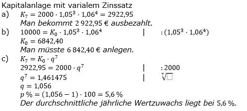 Zinseszinses Prüfungsaufgaben Lösungen zum Aufgabensatz 48 Blatt 6 A41 - A48 Bild 1/© by www.fit-in-mathe-online.de
