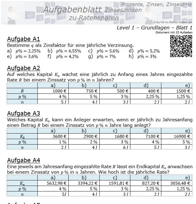 Ratensparen mit Zinseszinsen fester Zinssatz Aufgabenblatt 1/1 / © by Fit-in-Mathe-Online.de
