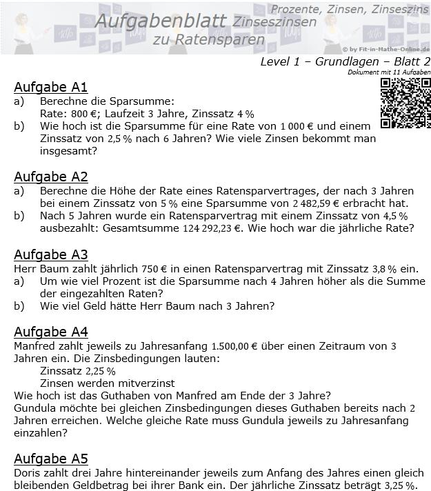 Ratensparen mit Zinseszinsen fester Zinssatz Aufgabenblatt 1/2 / © by Fit-in-Mathe-Online.de