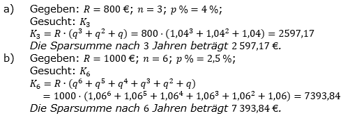 Ratensparen fester Zinssatz Lösungen zum Aufgabensatz 1 Blatt 1/2 Grundlagen/© by www.fit-in-mathe-online.de