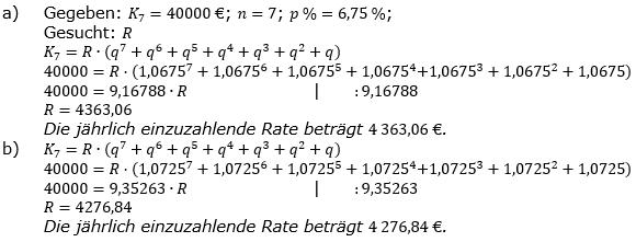 Ratensparen fester Zinssatz Lösungen zum Aufgabensatz 6 Blatt 1/2 Grundlagen/© by www.fit-in-mathe-online.de