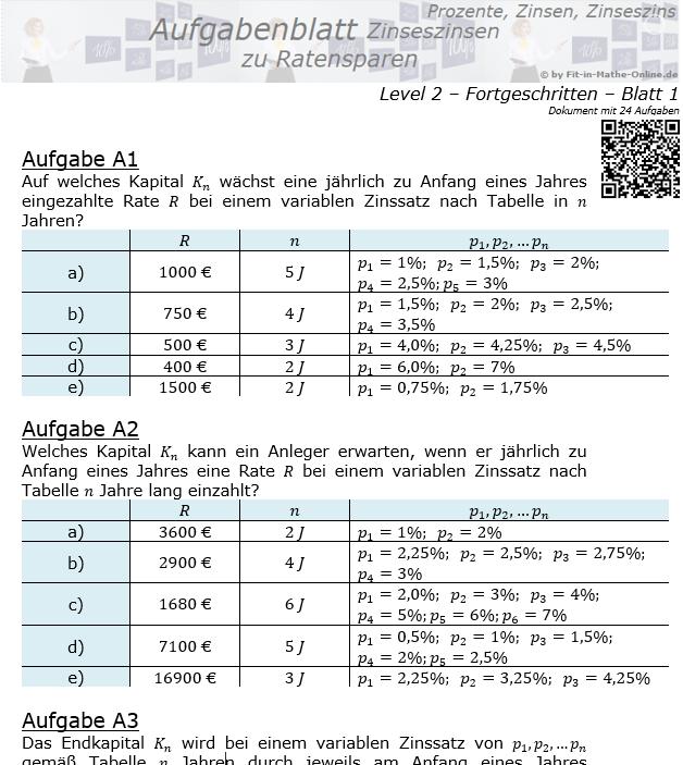 Ratensparen mit Zinseszinsen variabler Zinssatz Aufgabenblatt 2/1 / © by Fit-in-Mathe-Online.de