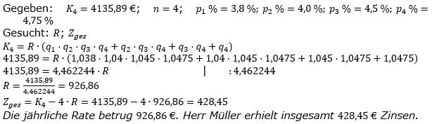 Ratensparen variabler Zinssatz Lösungen zum Aufgabensatz 6 Blatt 2/1 Fortgeschritten/© by www.fit-in-mathe-online.de