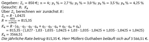 Ratensparen variabler Zinssatz Lösungen zum Aufgabensatz 7 Blatt 2/1 Fortgeschritten/© by www.fit-in-mathe-online.de