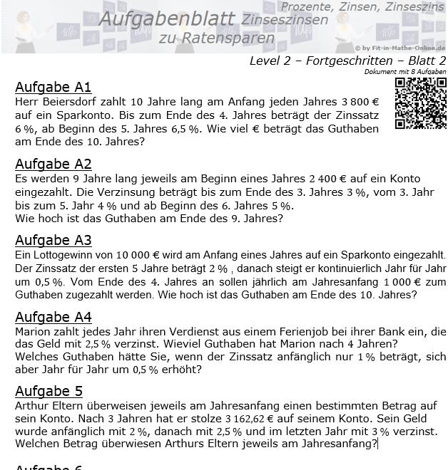 Ratensparen mit Zinseszinsen variabler Zinssatz Aufgabenblatt 2/2 / © by Fit-in-Mathe-Online.de