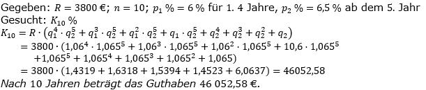 Ratensparen variabler Zinssatz Lösungen zum Aufgabensatz 1 Blatt 2/12Fortgeschritten/© by www.fit-in-mathe-online.de