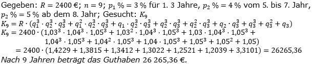 Ratensparen variabler Zinssatz Lösungen zum Aufgabensatz 2 Blatt 2/12Fortgeschritten/© by www.fit-in-mathe-online.de